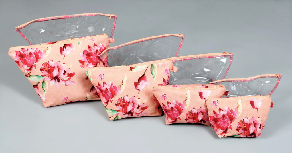 Peach and Red Lotus Garden Printed Multi-utility Pouch Set of 8 Pcs