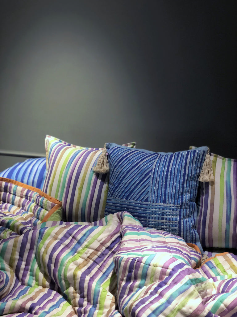 Cool Colours Stripes | 100% Cotton | 7 PC Set | King Size
