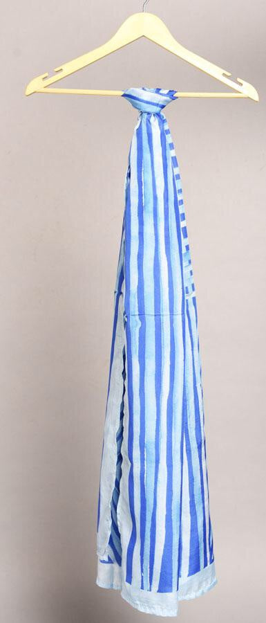 Ultra Marine Blue Colour Story Stripes Printed Pure Silk Scarf and Pocket Square Gift Set
