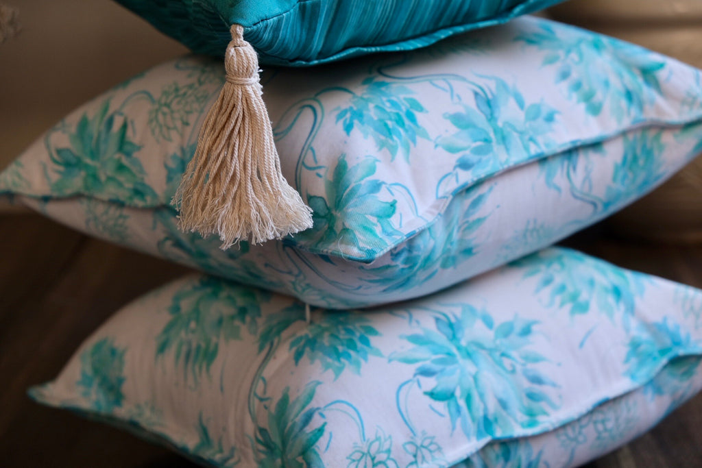 Colour Story Aqua Silk and Canvas Cushion Gift Cover Set of 3