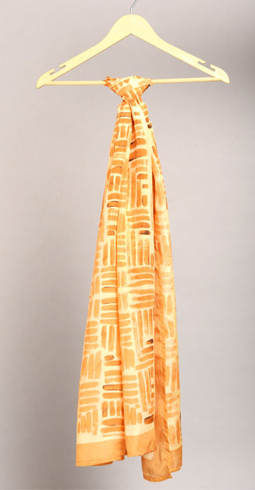 Cadmium Orange Colour Story Abstract Printed Pure Silk Scarf