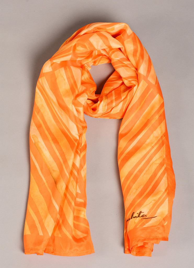 Orange Pure Silk Scarf - Colour Story-Orange