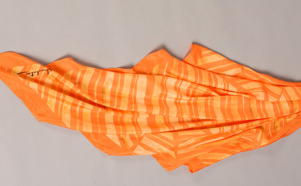 Orange Colour Story Abstract Printed Pure Silk Scarf