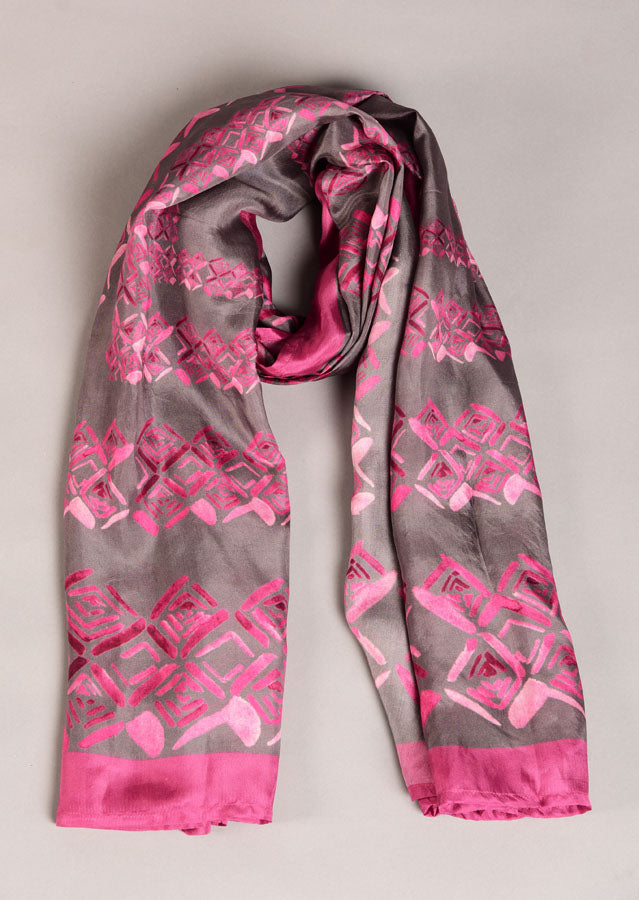 Pure Silk Scarf- Colour Story - Rose