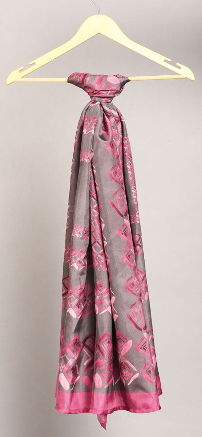 Grey And Rose Pink Colour Story Geometric Printed Pure Silk Scarf