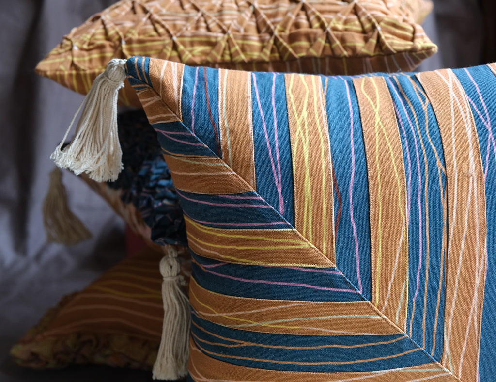 Classic Tan and Blue geometric patchwork Cushion cover