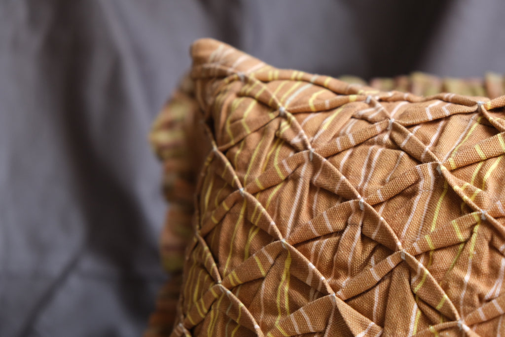 Classic Tan Fabric Manipulation Cushion with Texture Play