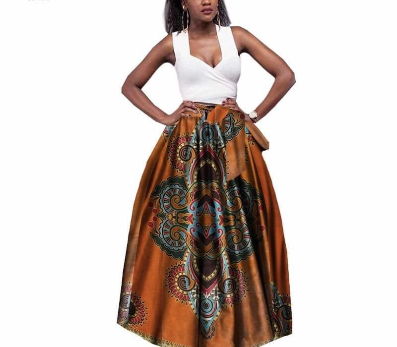 A-Line African Print Maxi Skirt - Lyse Collection