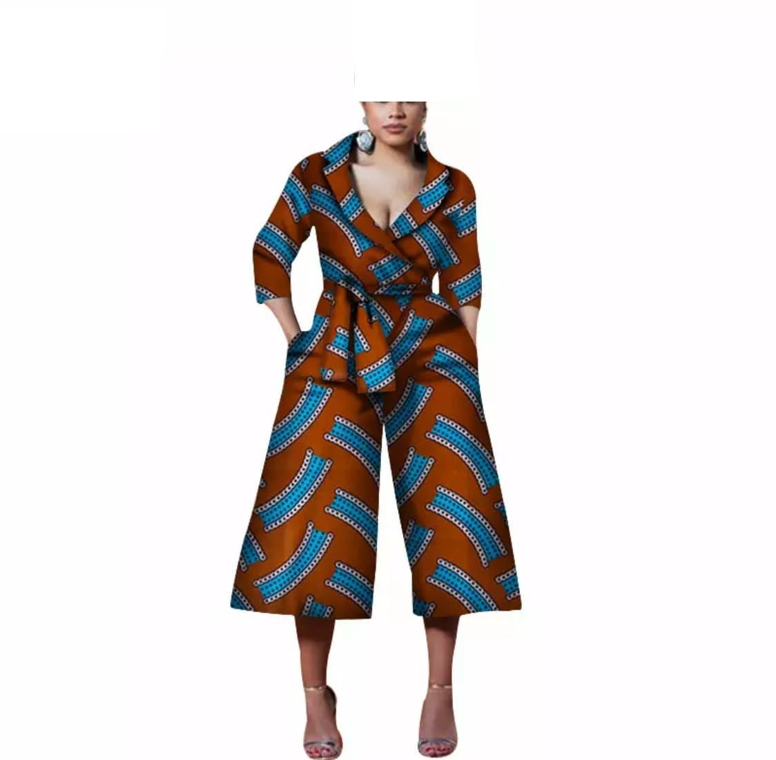 African Print Collared Jumpsuit Palazzo - Lyse Collection