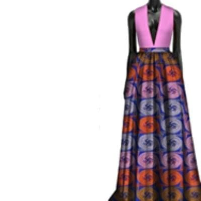 African Print Deep Plunge Dress - Lyse Collection