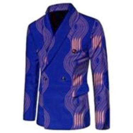 African  Print Double Breasted Blazer for Men - Lyse Collection