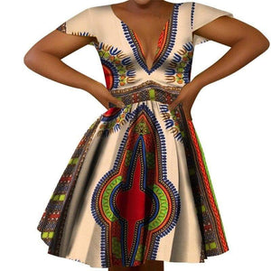African Print Empire V-neck Dress - Lyse Collection