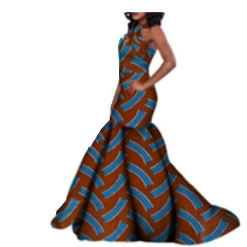 African Print Halter Neck Mermaid Gown - Lyse Collection