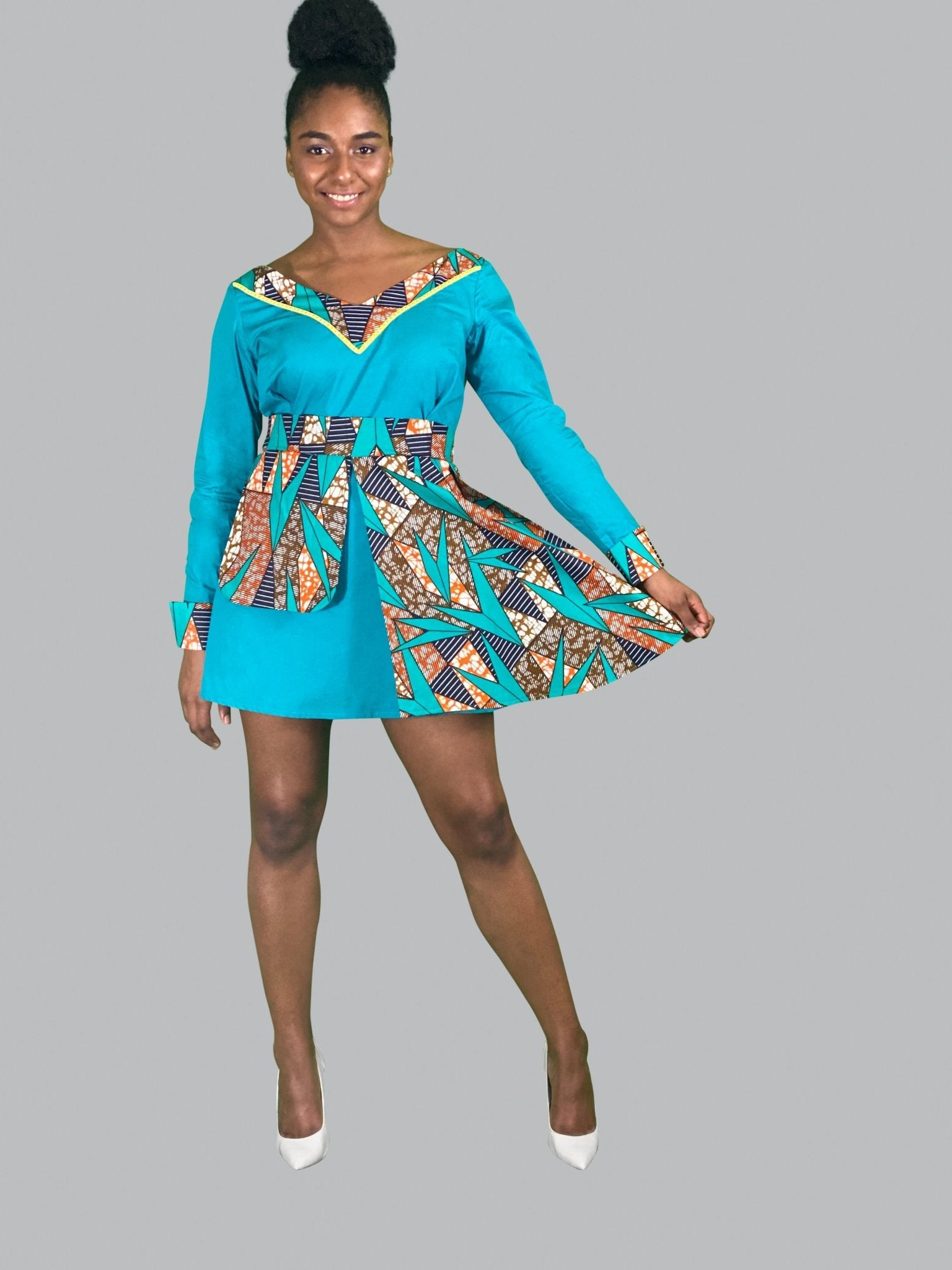 African Print Long Sleeve Mini Dress - Lyse Collection