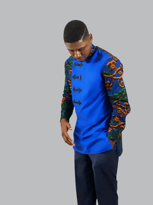 African print men bishop collared long-sleeve shirt - Lyse Collection