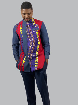 African Print men Long Sleeve Shirt - Lyse Collection