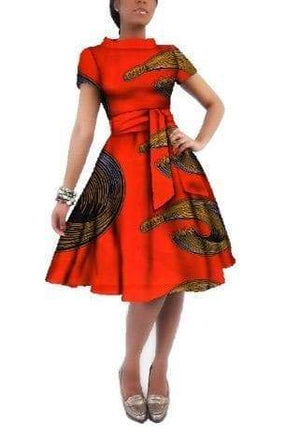African Print O-neck Dress - Lyse Collection