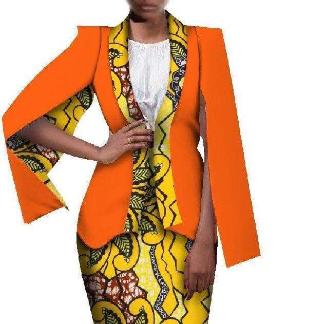 African Print Short Dress and Cape Style Jacket Set - Lyse Collection