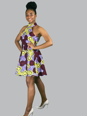 African Print Skater mini Dress - Lyse Collection