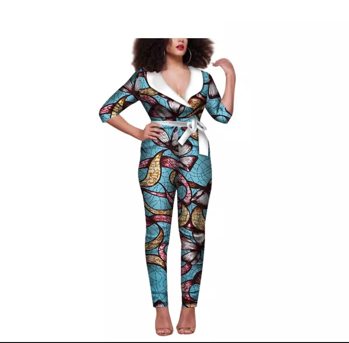 African Print Tie-Waist Jumpsuit - Lyse Collection