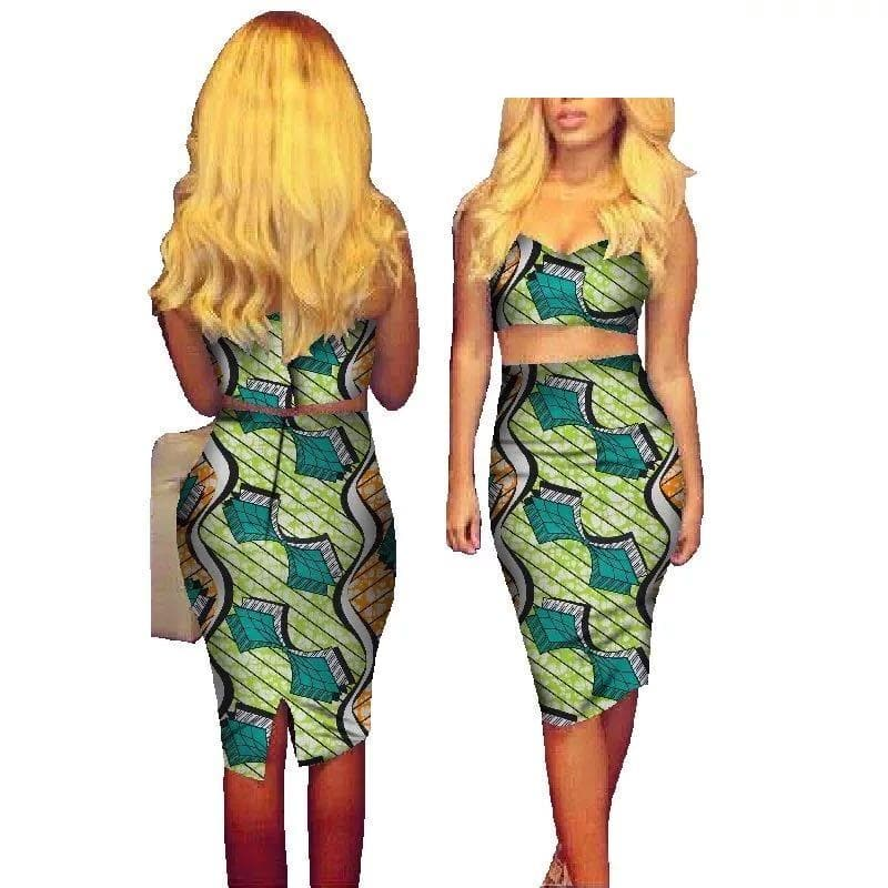 African Print Two-Piece Crop Top Skirt Set - Lyse Collection