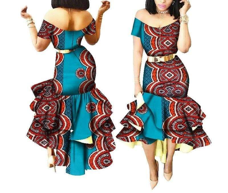 Chagga Tribe African Print Mermaid Dress - Lyse Collection