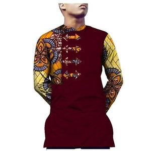 African Print men Long Sleeve Shirt