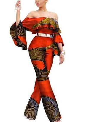 Maasai Tribe African Print Off-the-Shoulder Jumpsuit - Lyse Collection