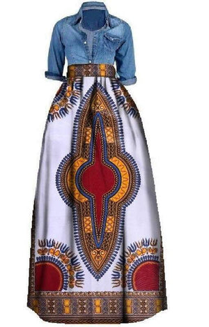 Pygmies Tribe African Print Maxi Skirt - Lyse Collection