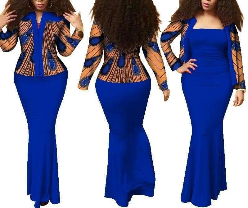 Queen of Afar African Print Dress Suit Set - Lyse Collection