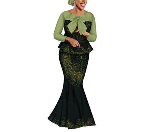 Queen of Fang African Print Long Skirt Set - Lyse Collection