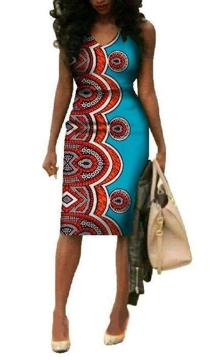 Tutsi Tribe African Print V-neck Dress - Lyse Collection