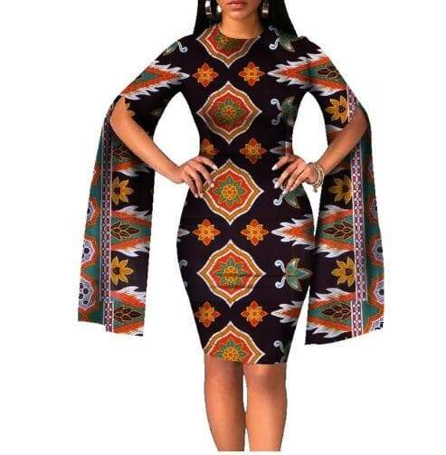 Yoruba Tribe African Print Slit Sleeve Body-con Dress - Lyse Collection