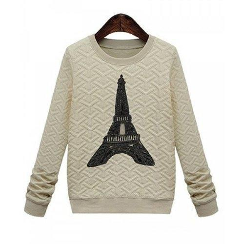 Casual Style Round Neck Long Sleeve Printed Women's Sweatshirt - Apricot M