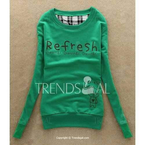 Cute Scoop Neck Long Sleeve Print Sweatshirt For Women - Green One Size