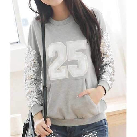 Stylish Round Neck Sequined Letter Pattern Long Sleeve Women's Sweashirt - Gray Xl