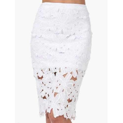 Stylish High-Waisted Elastic Waist Solid Color Bodycon Hollow Out Women's Skirt - White One Size