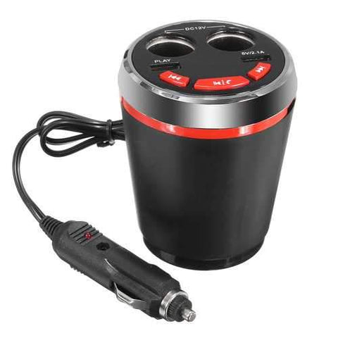 Car Bluetooth Cup Charger Hands Free Car Kit 2 Port USB MP3 Player
