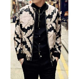 Fashion Stand Collar Golden Lace Flower Embellished Loose Fit Long Sleeves Men's Jacket - L