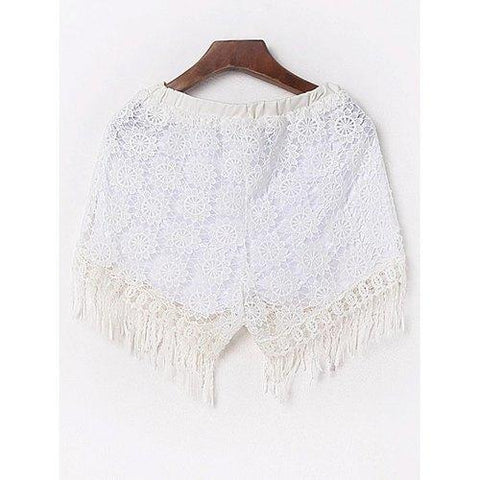 Sexy Fringed Flowy Lace Shorts - White M
