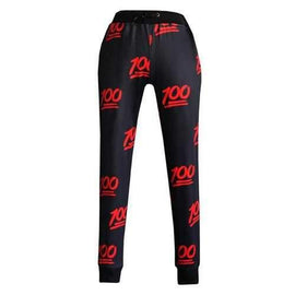 Stylish Mid-Waisted Drawstring Printed Women's Pants - Red With Black S