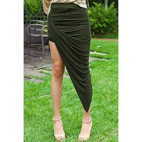 Fashionable Solid Color Ruffle Asymmetrical Skirt For Women - Army Green S