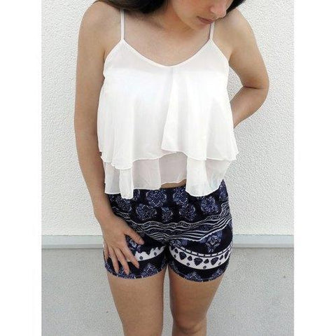 Stylish White Flounced Tank Top and Printed Shorts Women's Twinset - White M