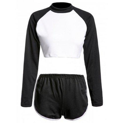 Casual Round Neck Long Sleeve Color Block Crop Top and Shorts Suit For Women - Black S
