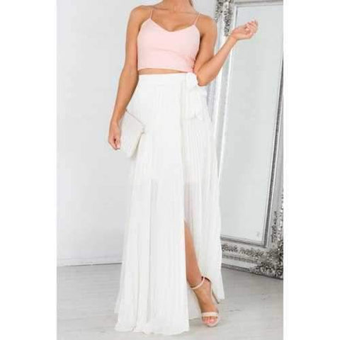 Elegant Style High-Waisted High Slit Pleated Tie-Up White Women's Maxi Skirt - White S