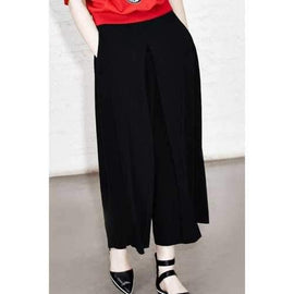 Fashionable Solid Color Loose Fitting Zipper Fly Pants For Women - Black S
