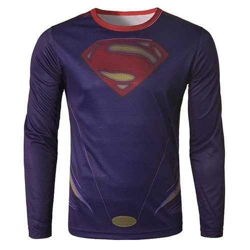 Fashion Round Neck 3D Superman Print Slimming Long Sleeve Quick-Dry T-Shirt For Men - L