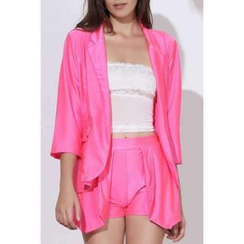 OL Style Solid Color 3/4 Sleeve Blazers+ Irregular Shorts Twinset For Women - Rose M