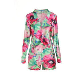 Sweet Colorful Flower Printed Blazers+ Bodycon Shorts Twinset For Women - L