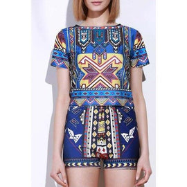 Vintage Geometric Printed Short T-Shirt+High Waist Shorts Twinset For Women - S